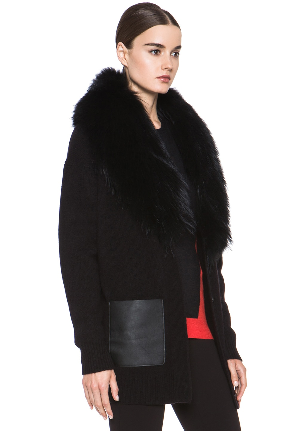 Image 4 of Joseph Boyfriend Cashmere Cardigan with Fur in Black