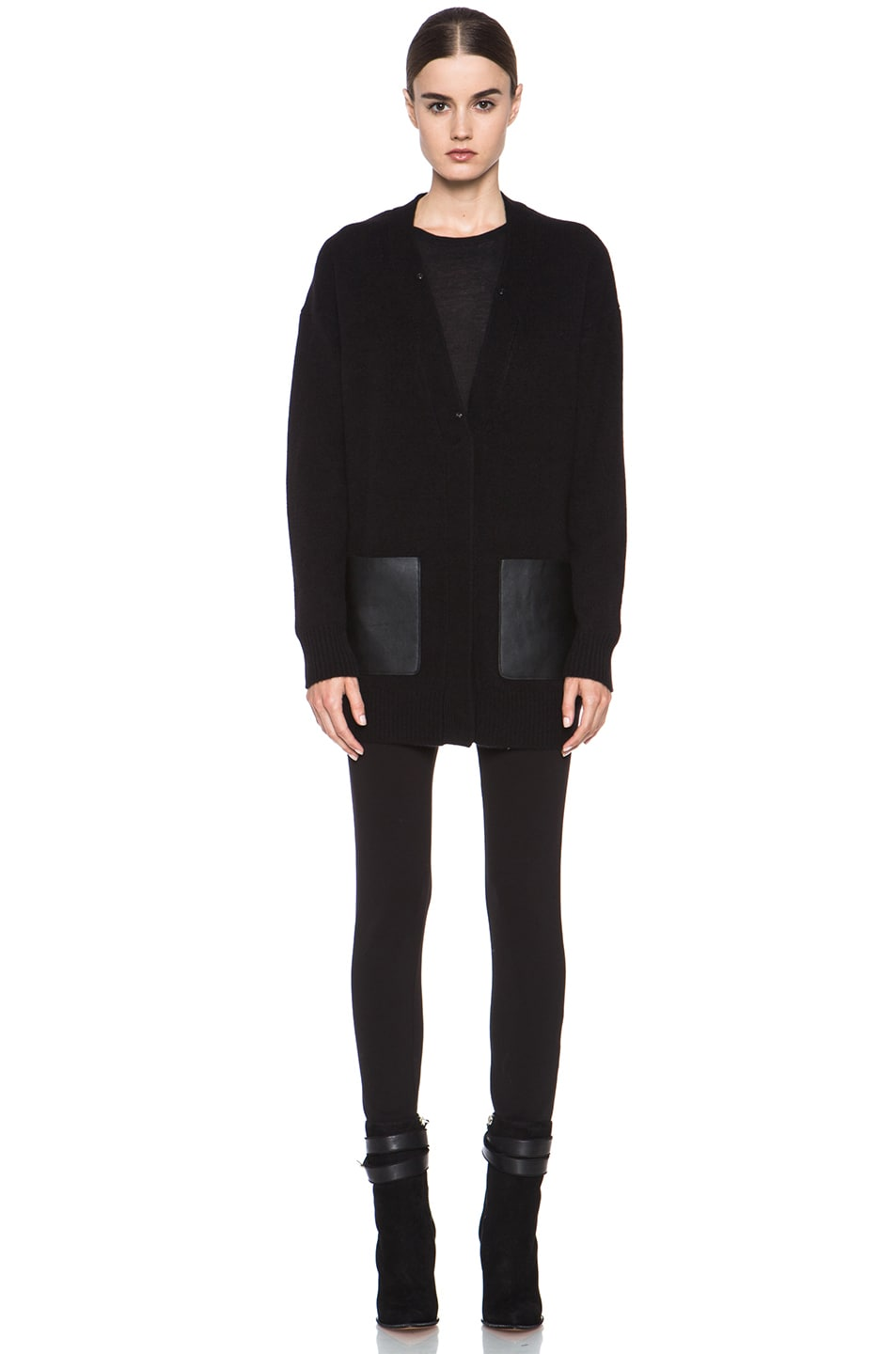 Image 6 of Joseph Boyfriend Cashmere Cardigan with Fur in Black