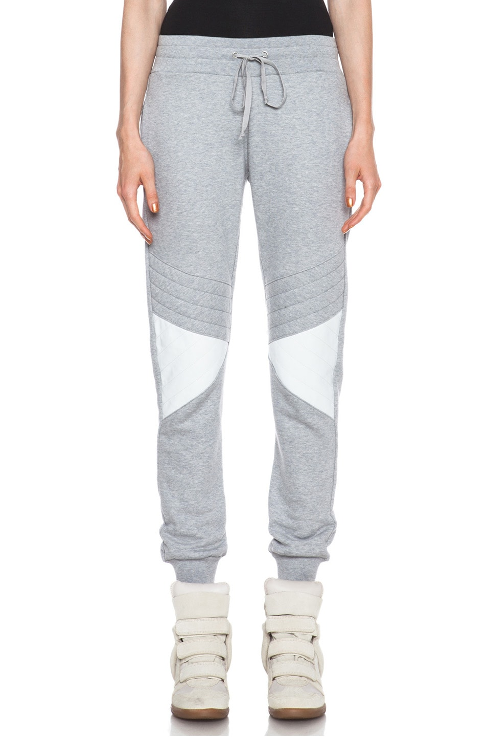 Image 1 of Joseph Jog Quilted Molleton Cotton Pant with Leather in Grey & White