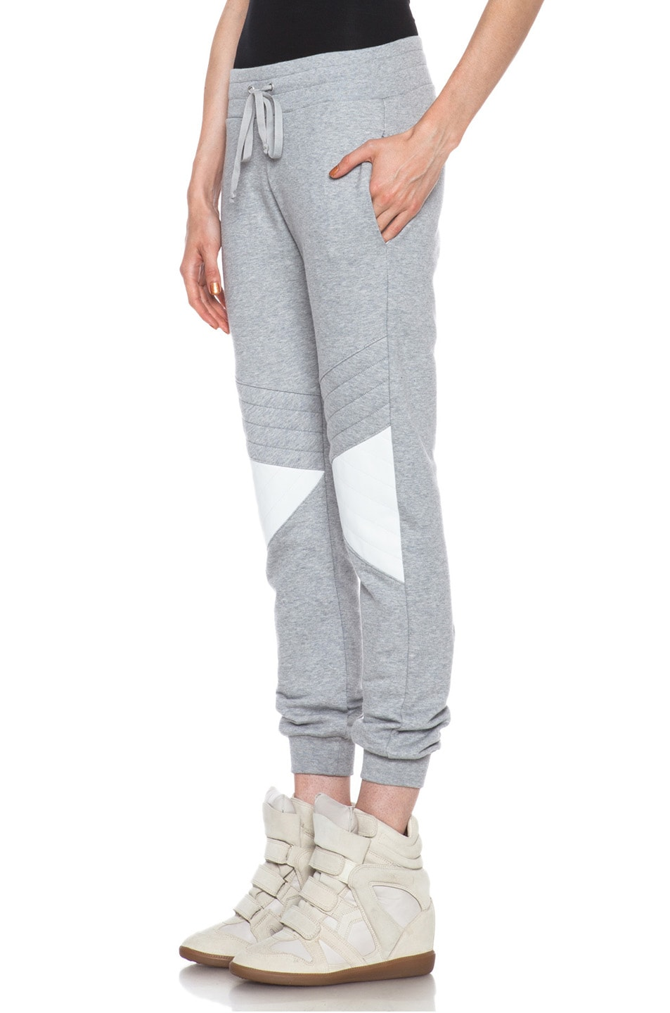 Image 2 of Joseph Jog Quilted Molleton Cotton Pant with Leather in Grey & White