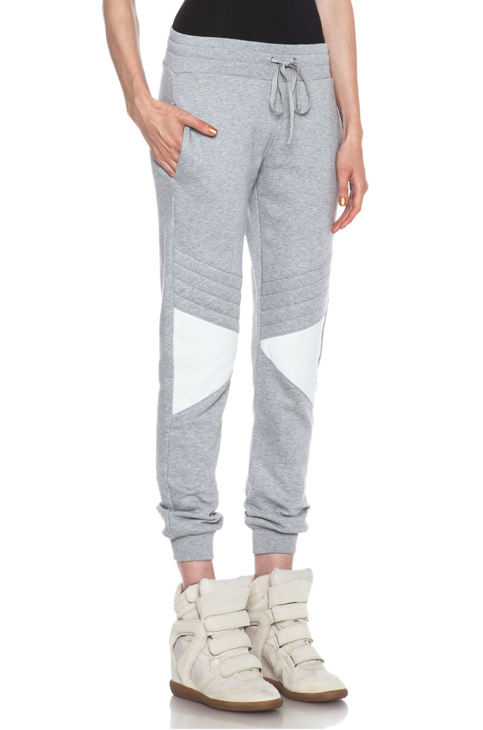 Image 3 of Joseph Jog Quilted Molleton Cotton Pant with Leather in Grey & White