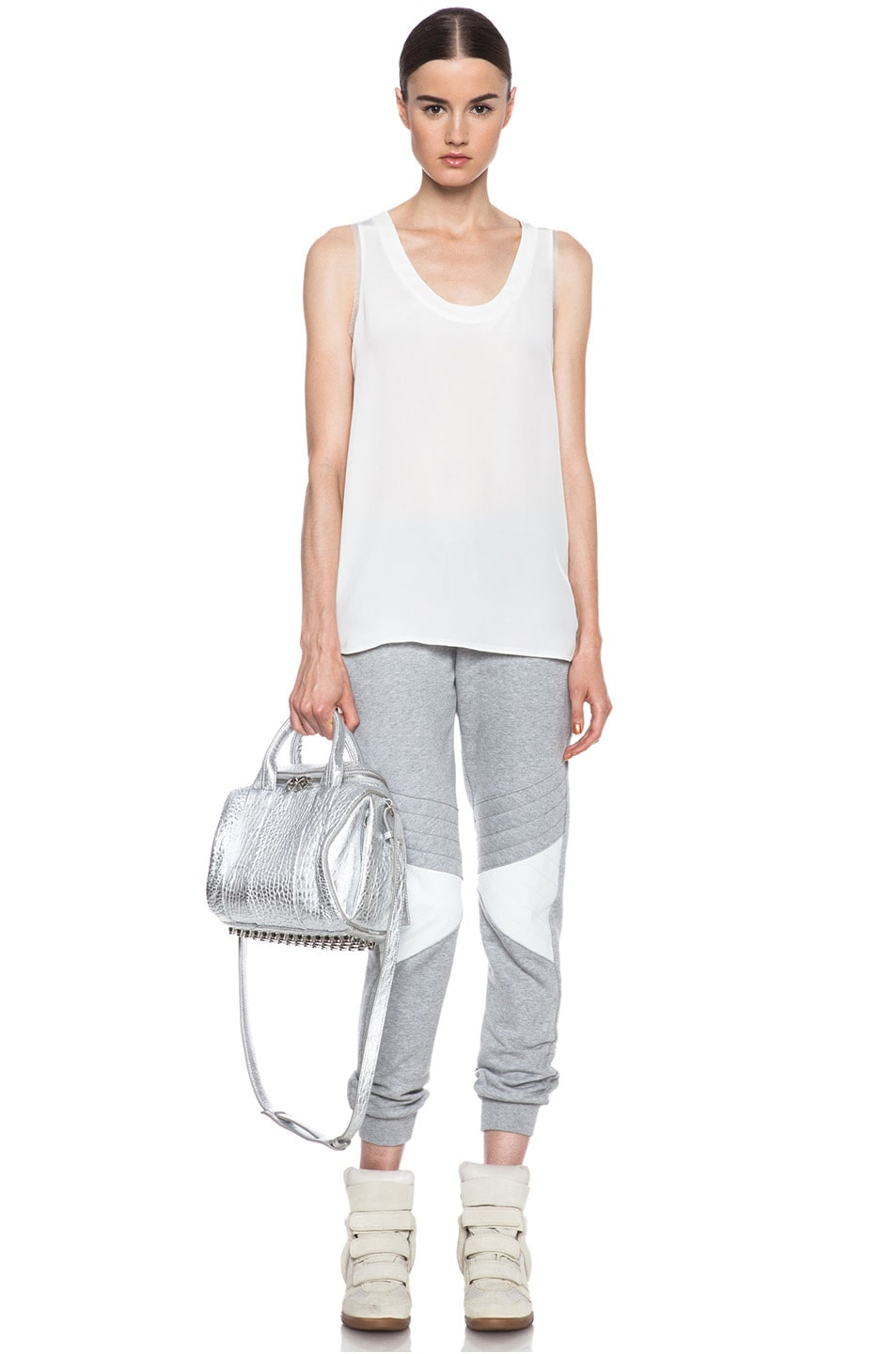 Image 5 of Joseph Jog Quilted Molleton Cotton Pant with Leather in Grey & White