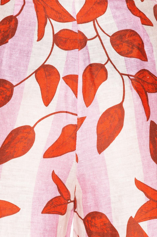 JOHANNA ORTIZ Colorado High-Waist Leaf-Print Trousers, Red/Pink