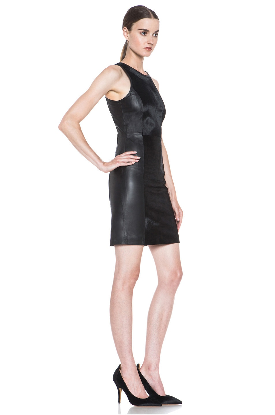 Image 3 of JONATHAN SIMKHAI Leather Dress in Black