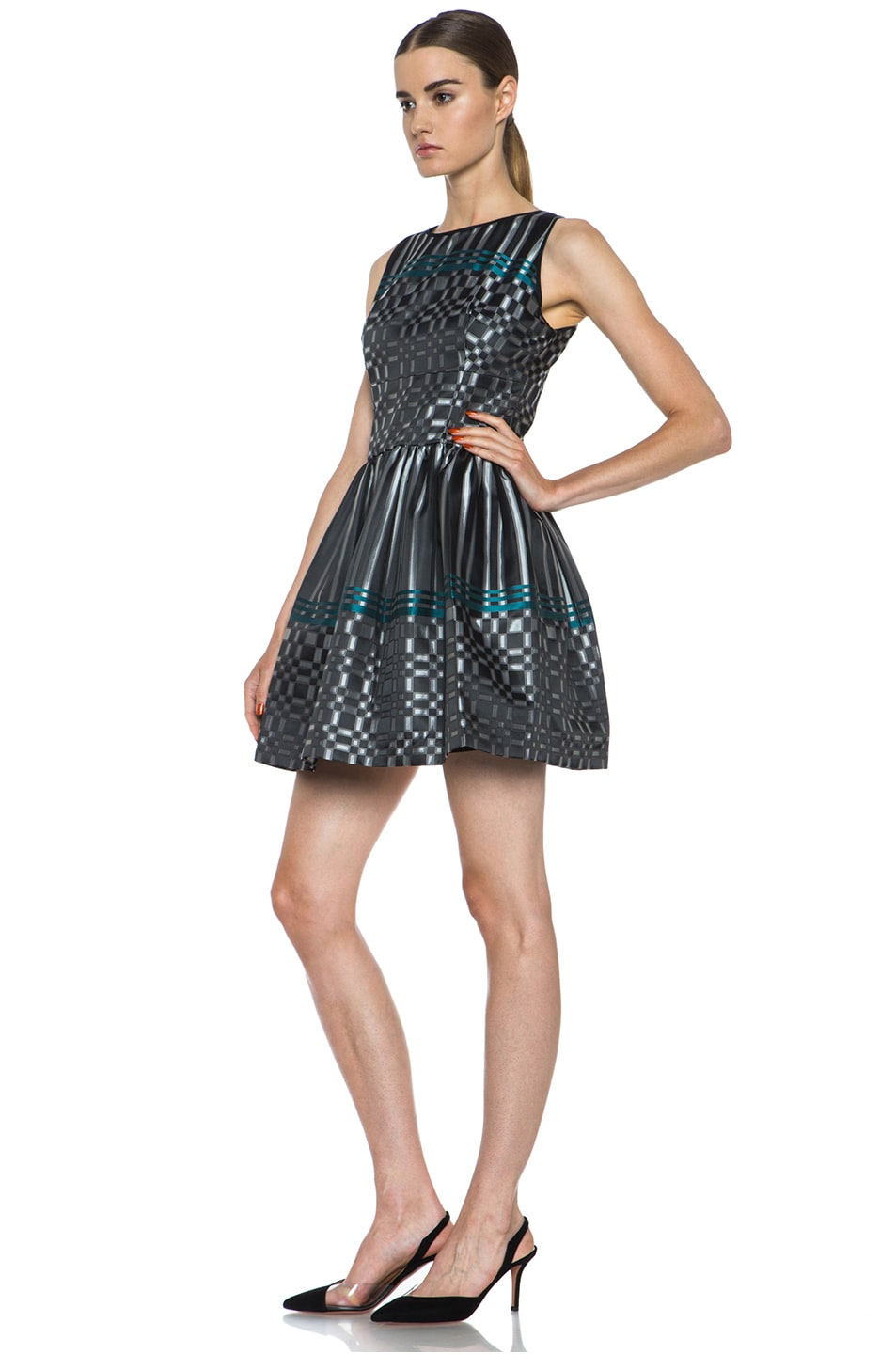 Image 2 of JONATHAN SIMKHAI Structured Jacquard Dress in Black & Teal