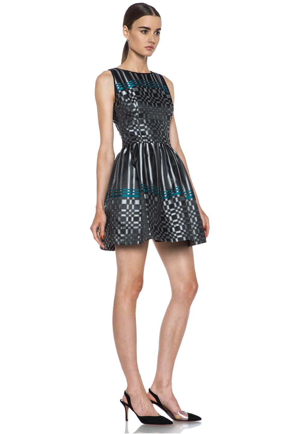 Image 3 of JONATHAN SIMKHAI Structured Jacquard Dress in Black & Teal