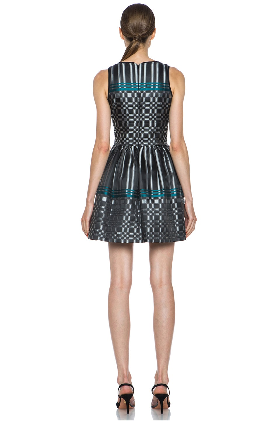 Image 4 of JONATHAN SIMKHAI Structured Jacquard Dress in Black & Teal
