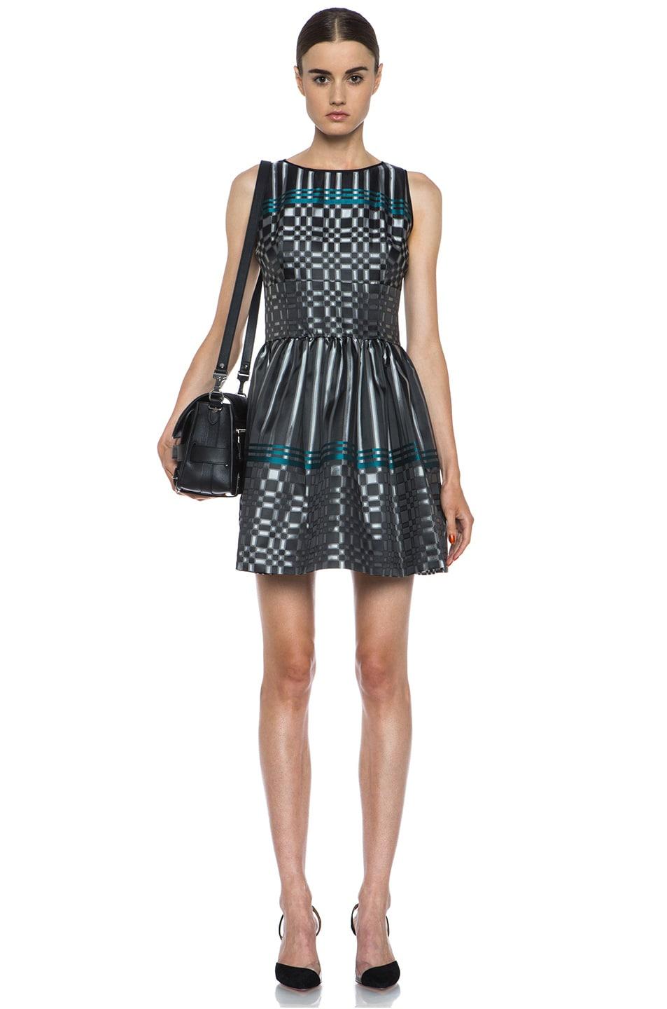 Image 5 of JONATHAN SIMKHAI Structured Jacquard Dress in Black & Teal