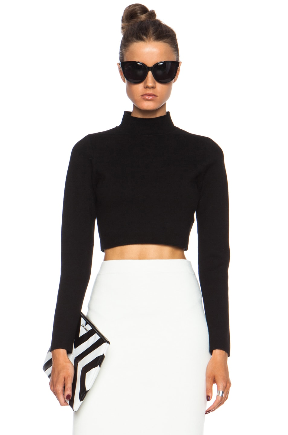 Image 1 of JONATHAN SIMKHAI Cropped Rayon Turtleneck in Black