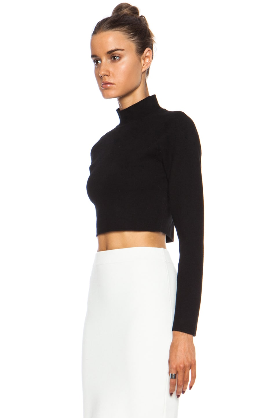 Image 2 of JONATHAN SIMKHAI Cropped Rayon Turtleneck in Black