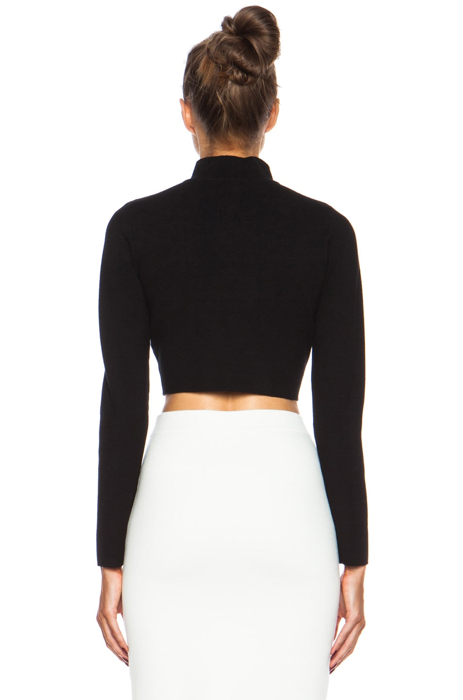 Image 4 of JONATHAN SIMKHAI Cropped Rayon Turtleneck in Black