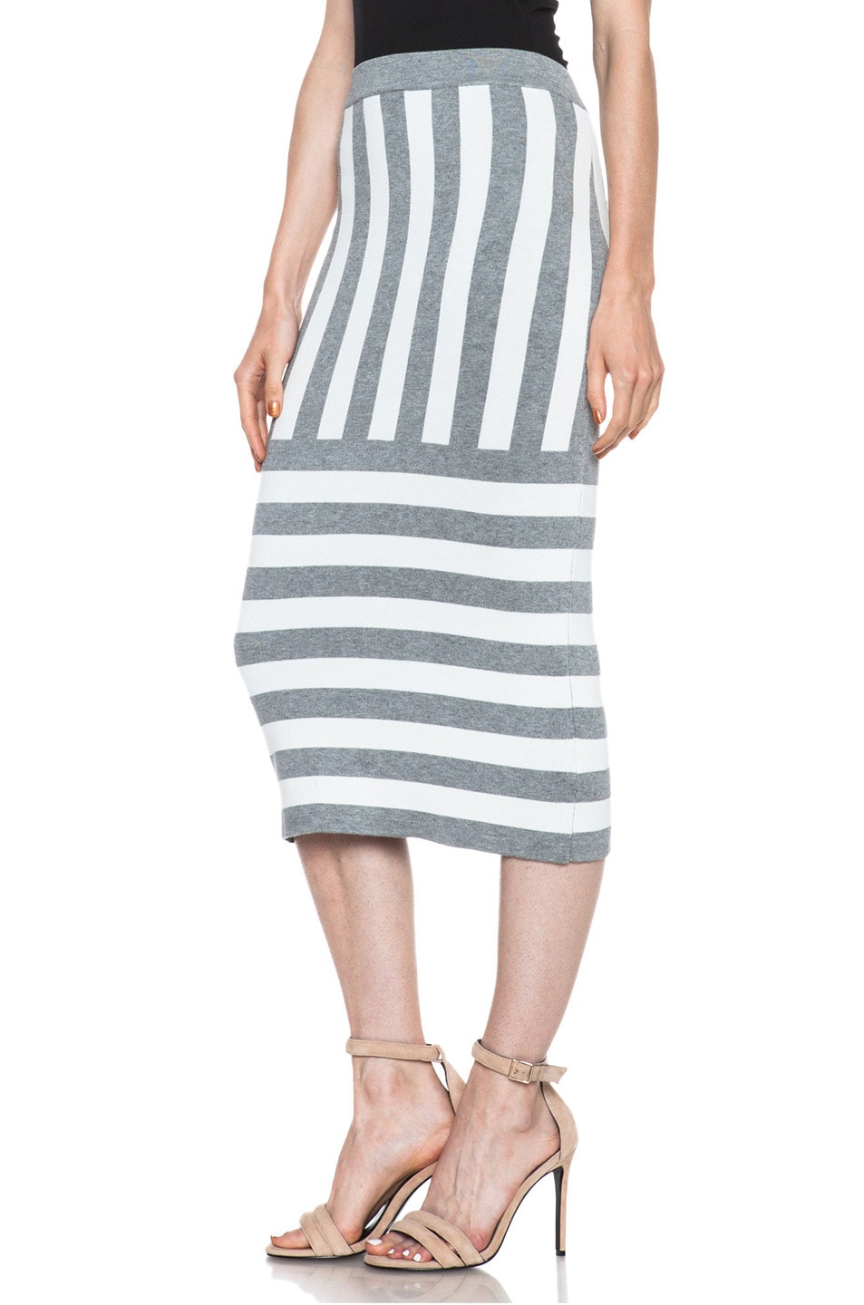 Image 2 of JONATHAN SIMKHAI Striped Knit Skirt in Ivory & Grey