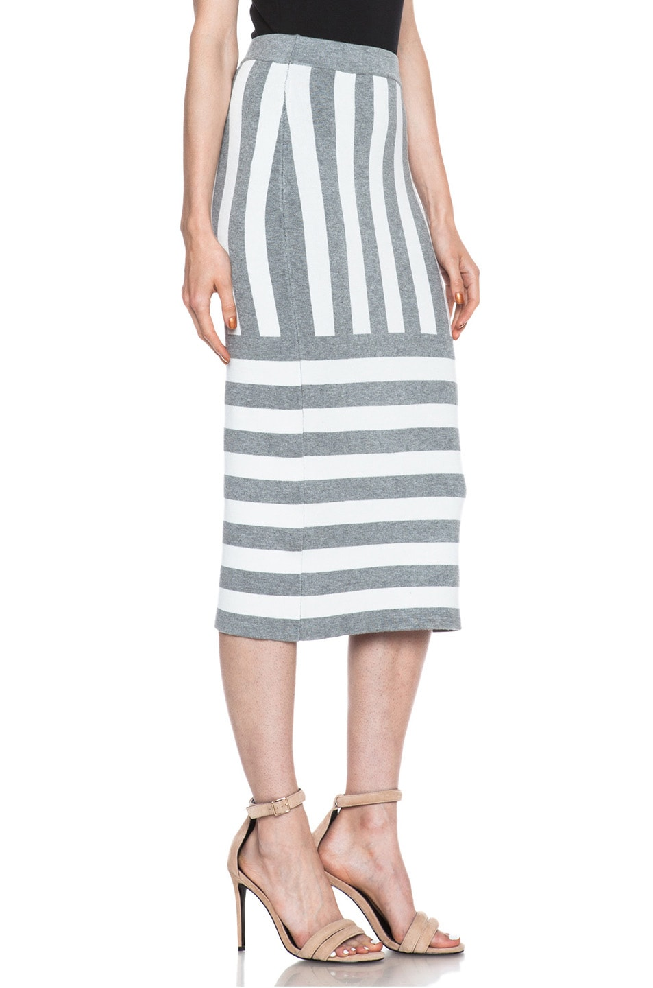 Image 3 of JONATHAN SIMKHAI Striped Knit Skirt in Ivory & Grey