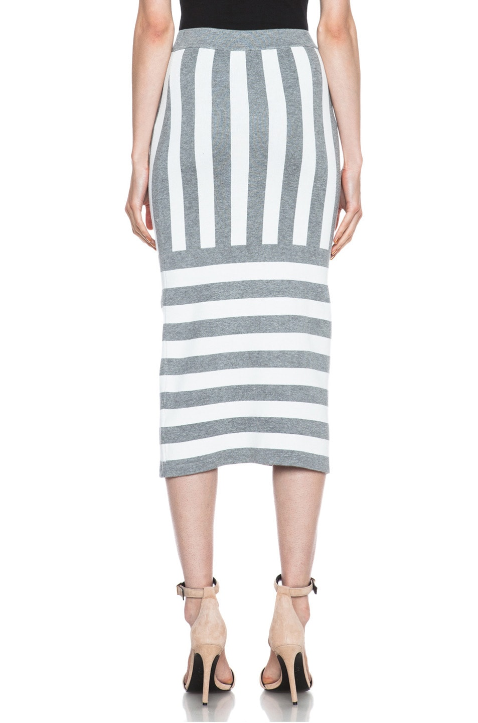 Image 4 of JONATHAN SIMKHAI Striped Knit Skirt in Ivory & Grey