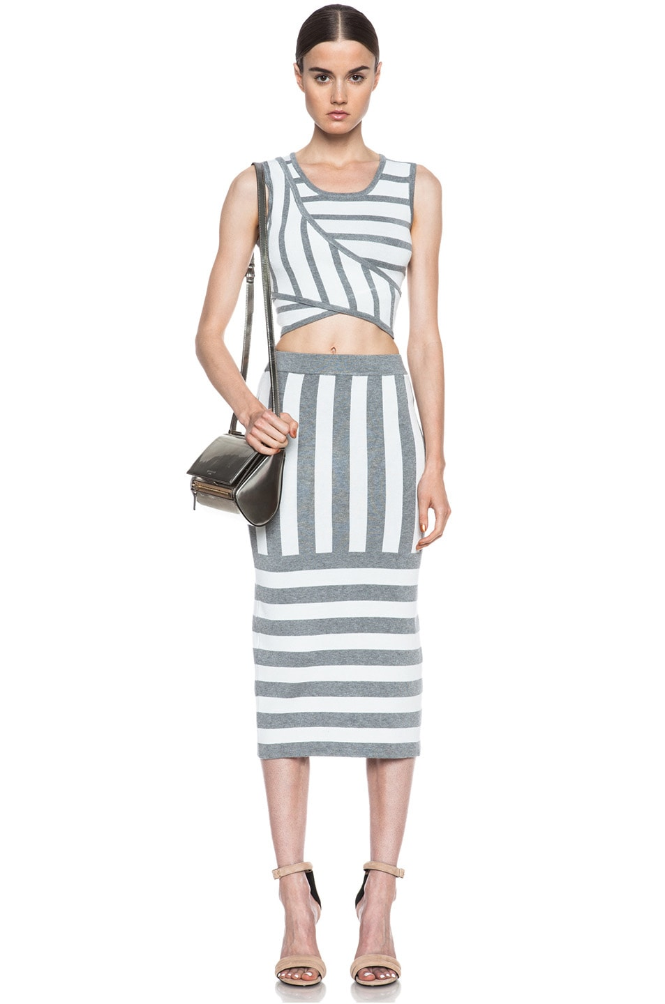 Image 5 of JONATHAN SIMKHAI Striped Knit Skirt in Ivory & Grey