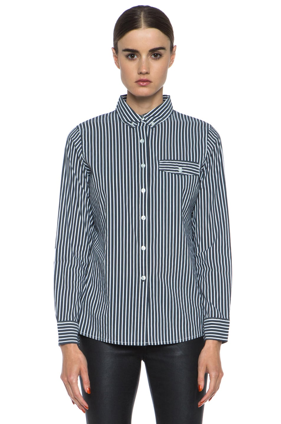 Image 1 of JONATHAN SIMKHAI Striped Oxford Cotton Blouse in Grey & White