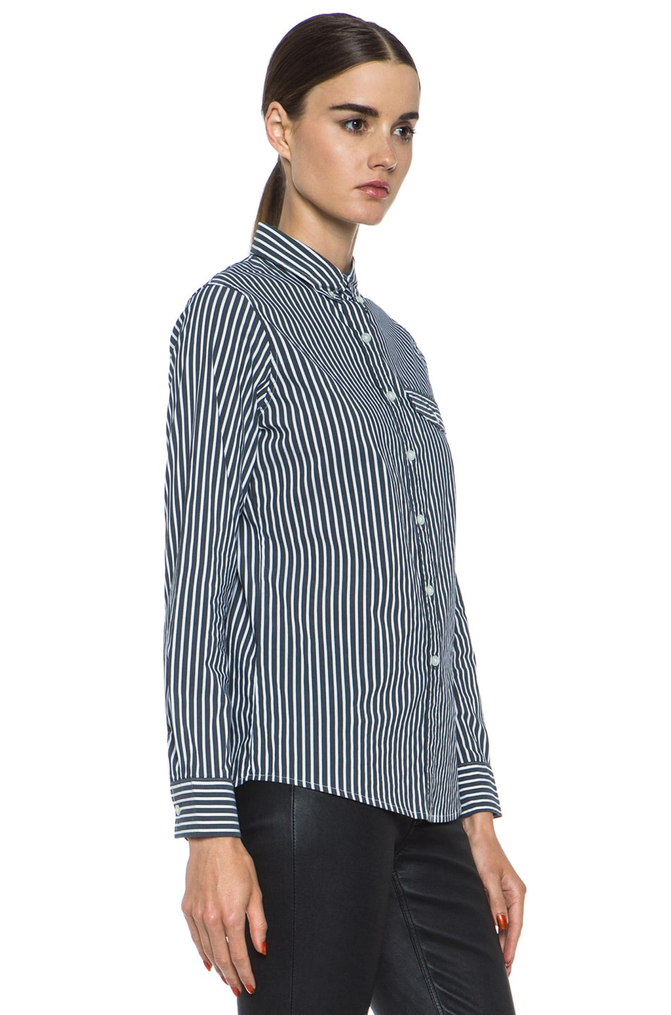 Image 3 of JONATHAN SIMKHAI Striped Oxford Cotton Blouse in Grey & White