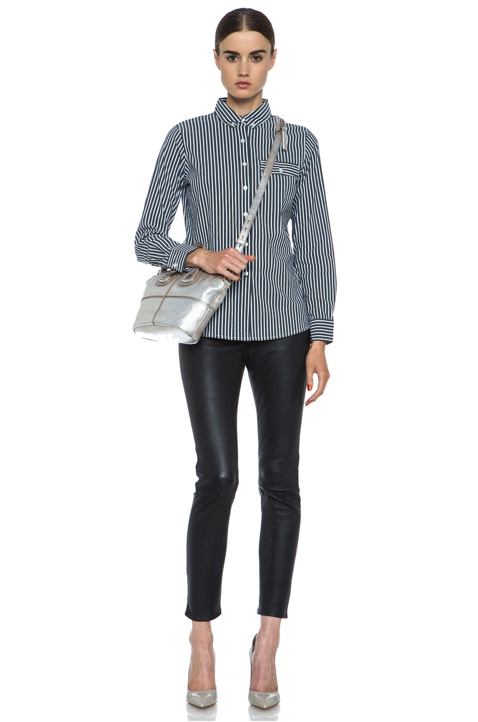 Image 5 of JONATHAN SIMKHAI Striped Oxford Cotton Blouse in Grey & White