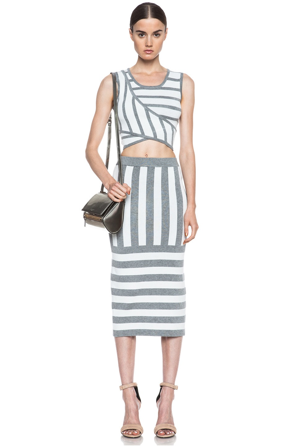 Image 5 of JONATHAN SIMKHAI Cross Over Knit Crop Top in Ivory & Grey Stripe
