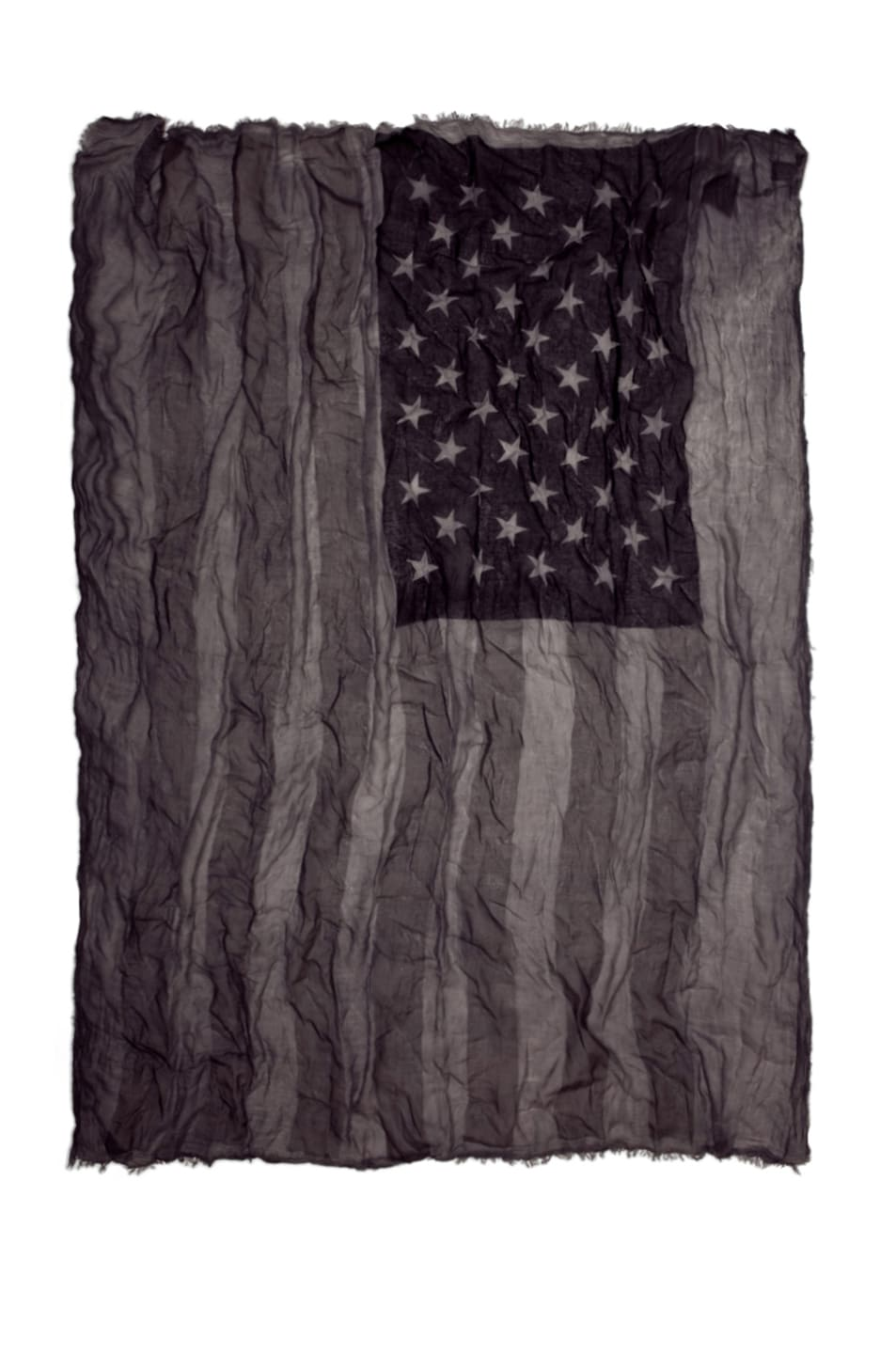 Image 1 of John Varvatos Antique Printed Flag Scarf in Black