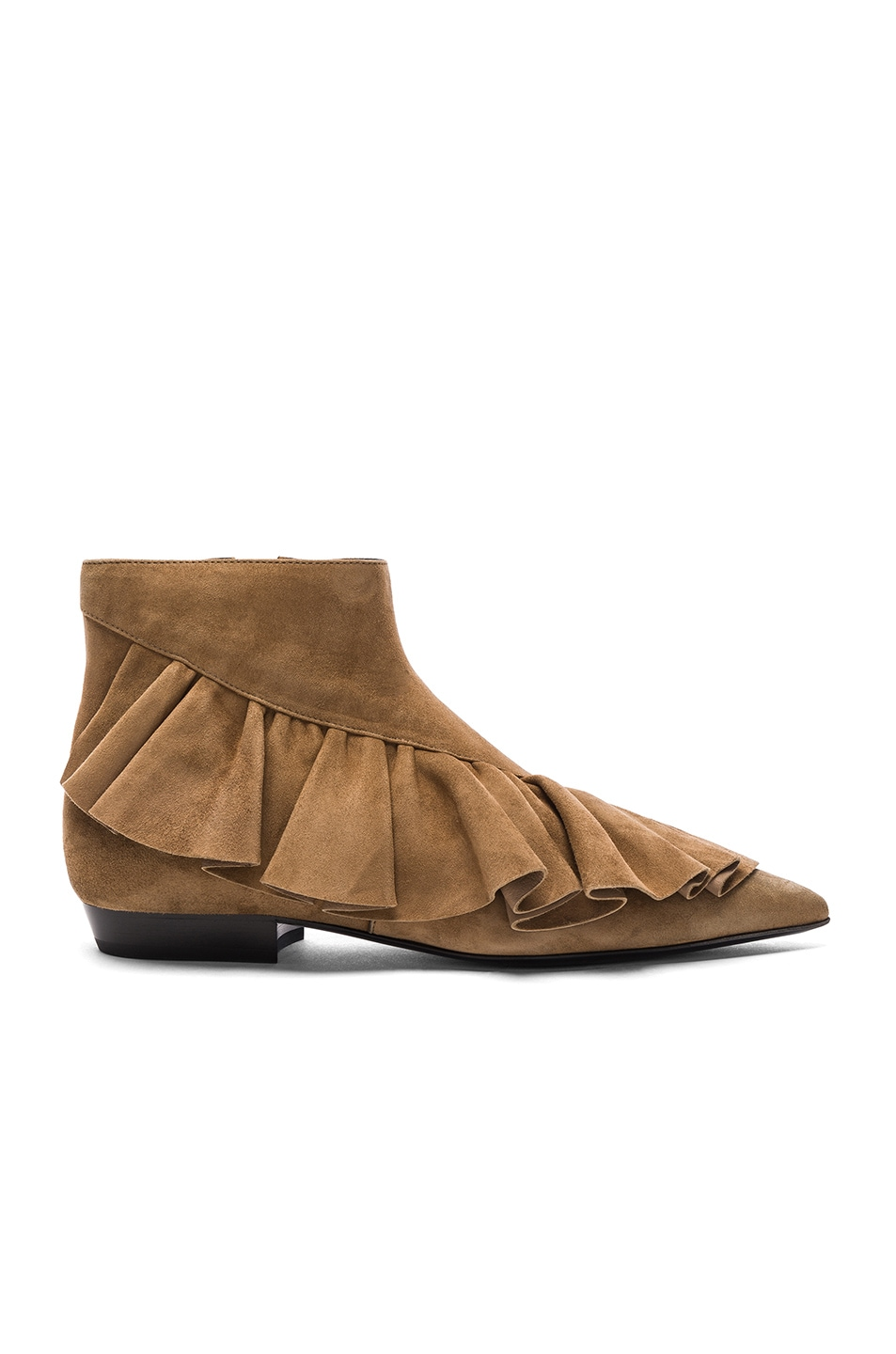 J.W.ANDERSON Ruffle Suede Ankle Boots at FORWARD