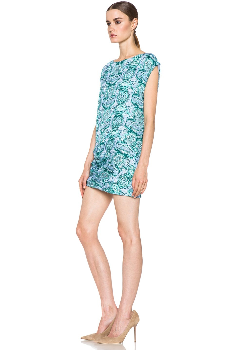 Image 2 of Kelly Wearstler Mirror Print Cocoon Dress in Blue Multi