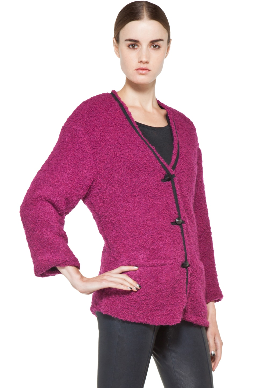 Image 4 of Kelly Wearstler Looped Boucle Seattle Jacket in Fuchsia