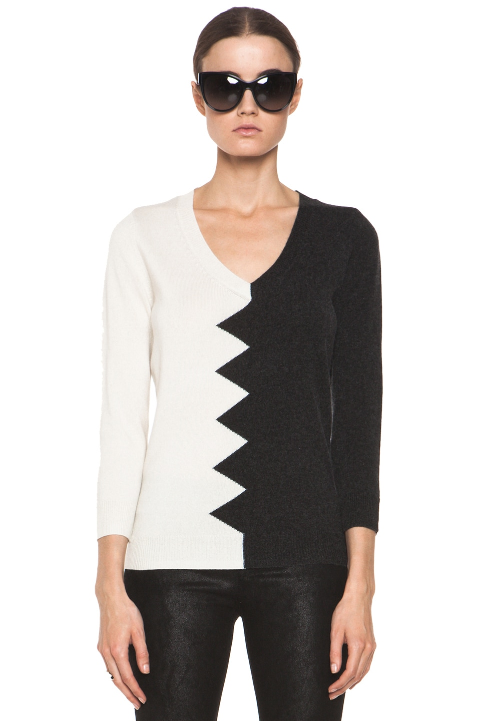 Image 1 of Kelly Wearstler Zig Zag Slither Sweater in Black & Ivory