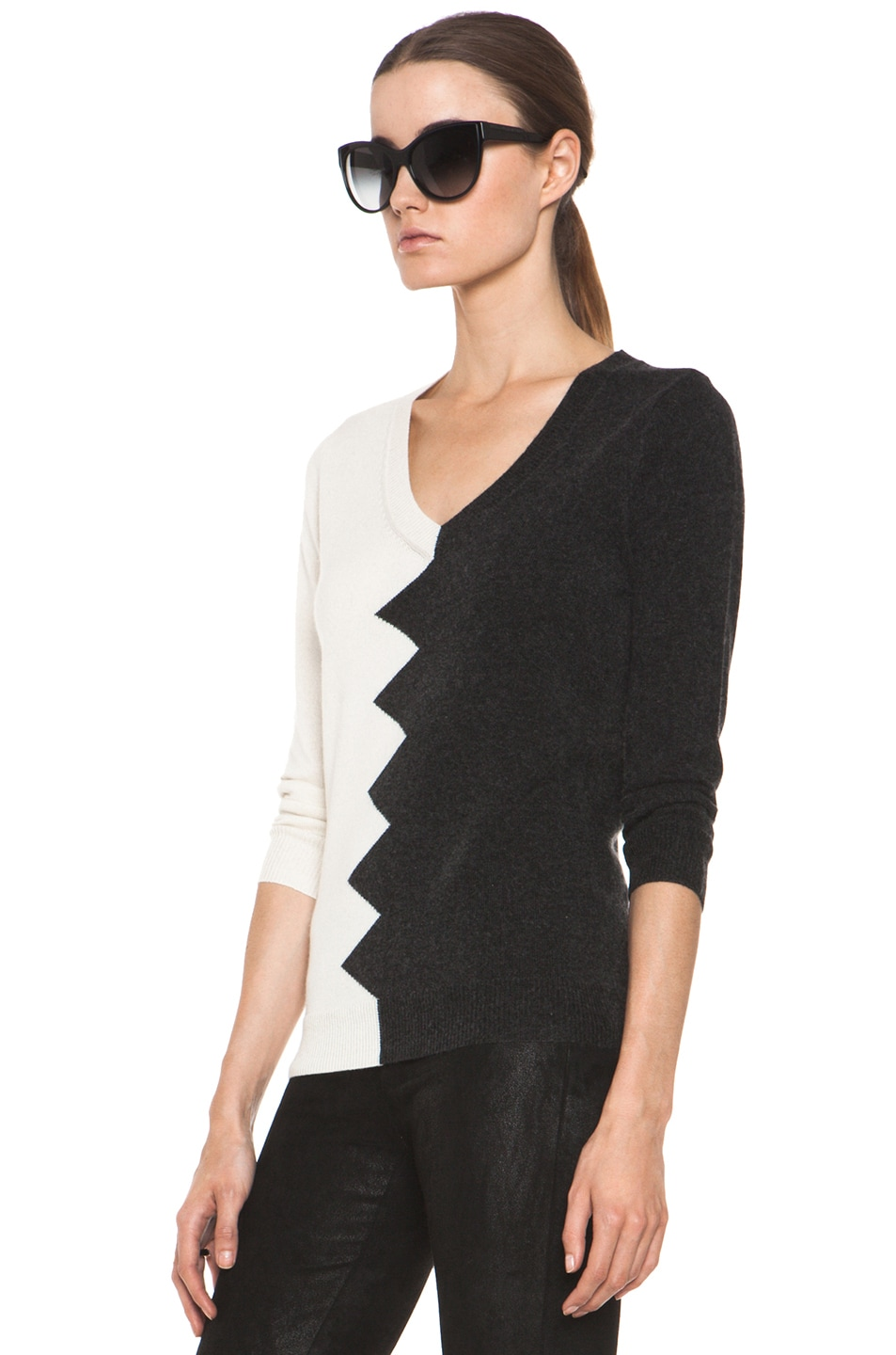 Image 2 of Kelly Wearstler Zig Zag Slither Sweater in Black & Ivory