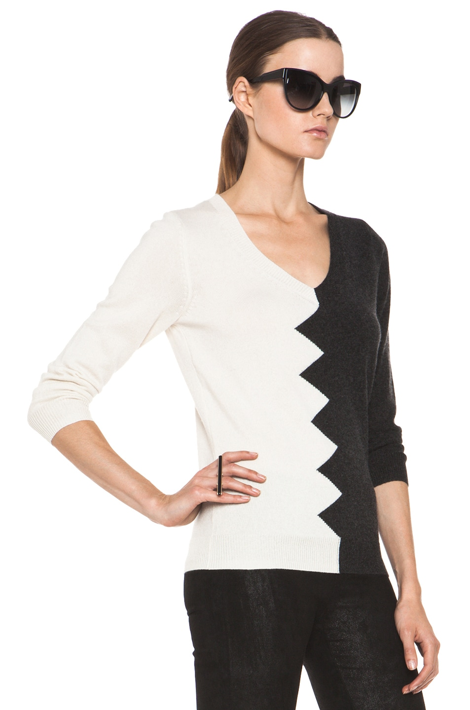 Image 3 of Kelly Wearstler Zig Zag Slither Sweater in Black & Ivory