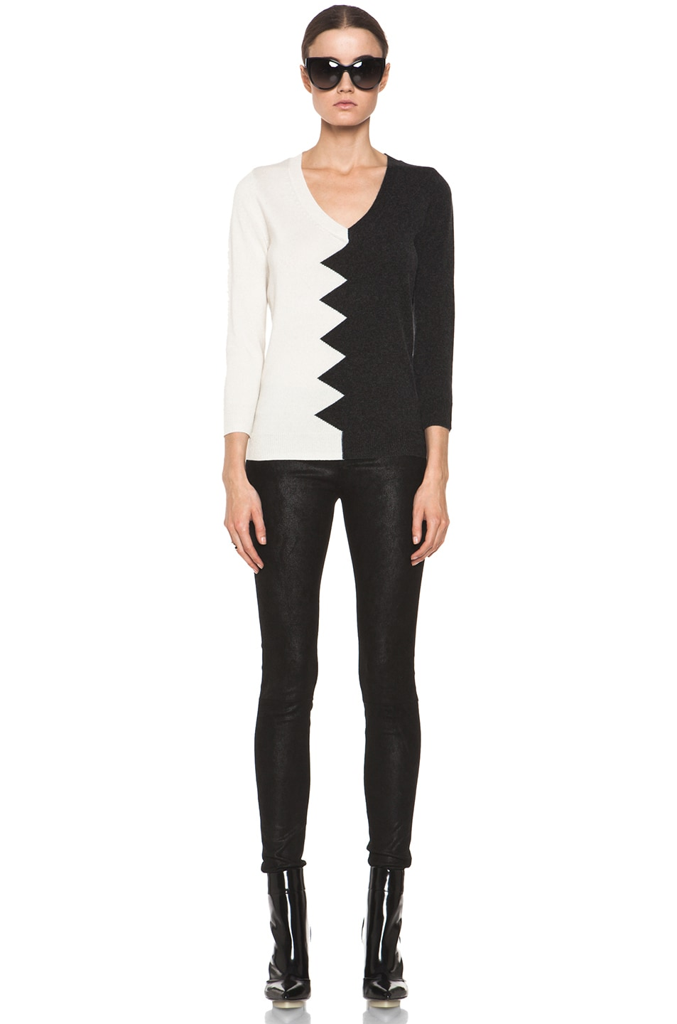 Image 5 of Kelly Wearstler Zig Zag Slither Sweater in Black & Ivory