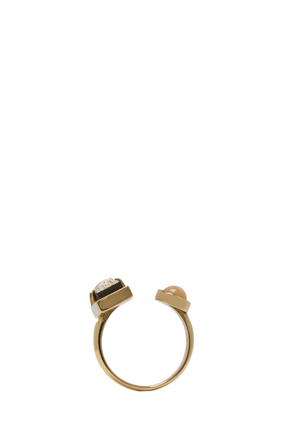 Image 4 of Kelly Wearstler Richmond Brass Ring in Gold, Pyrite & Peach Moonstone