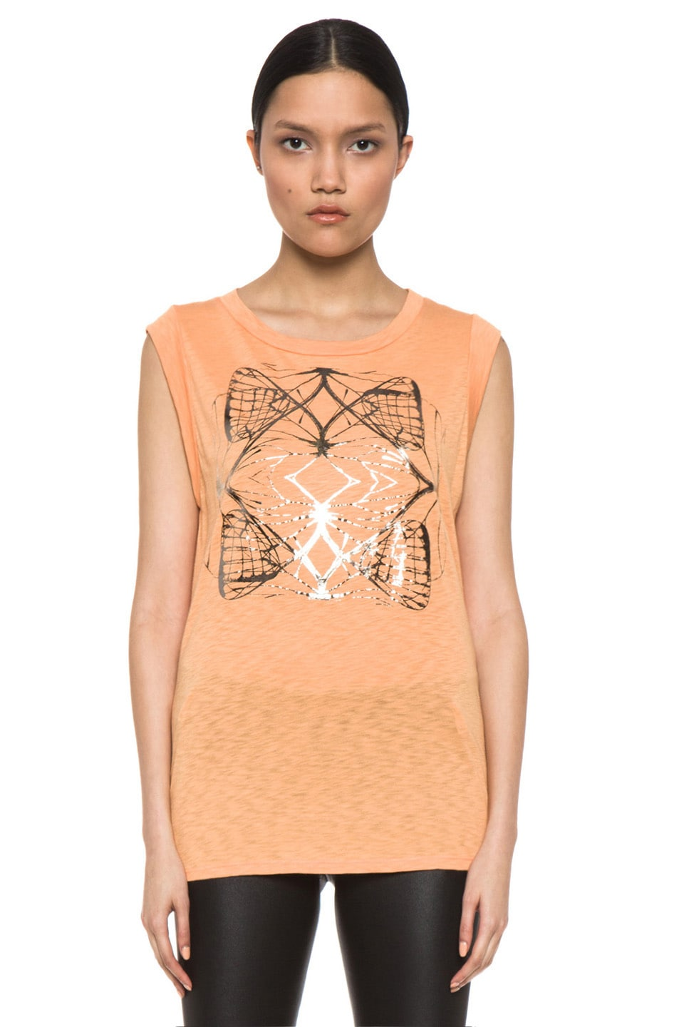 Image 1 of Kelly Wearstler Metallic Cyclone Top in Tangerine & Gunmetal Foil