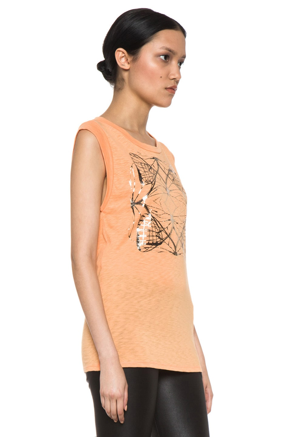 Image 3 of Kelly Wearstler Metallic Cyclone Top in Tangerine & Gunmetal Foil