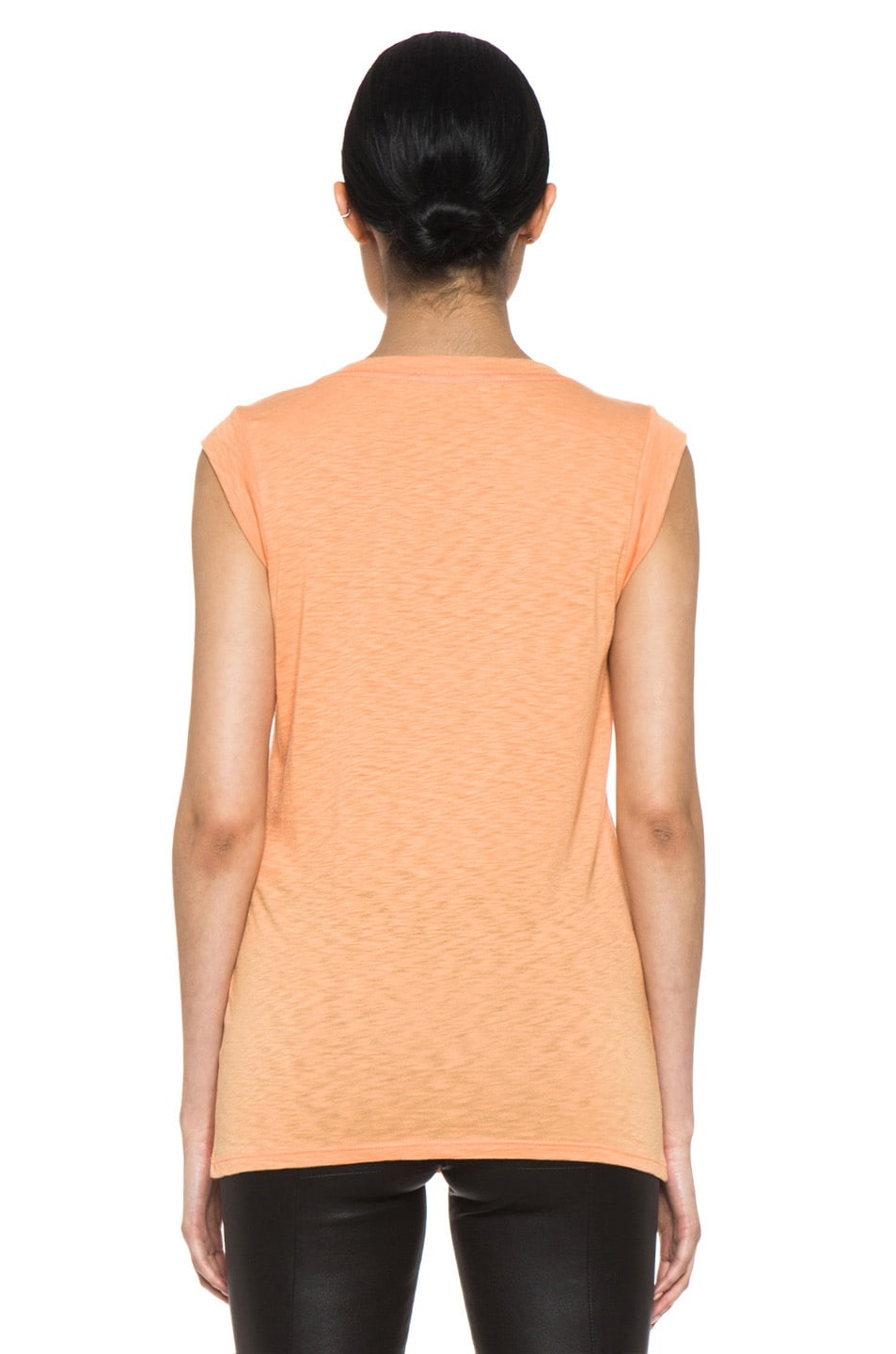 Image 4 of Kelly Wearstler Metallic Cyclone Top in Tangerine & Gunmetal Foil