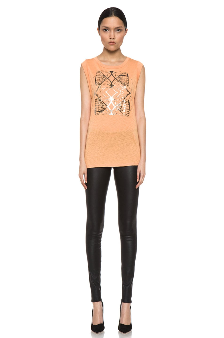 Image 5 of Kelly Wearstler Metallic Cyclone Top in Tangerine & Gunmetal Foil