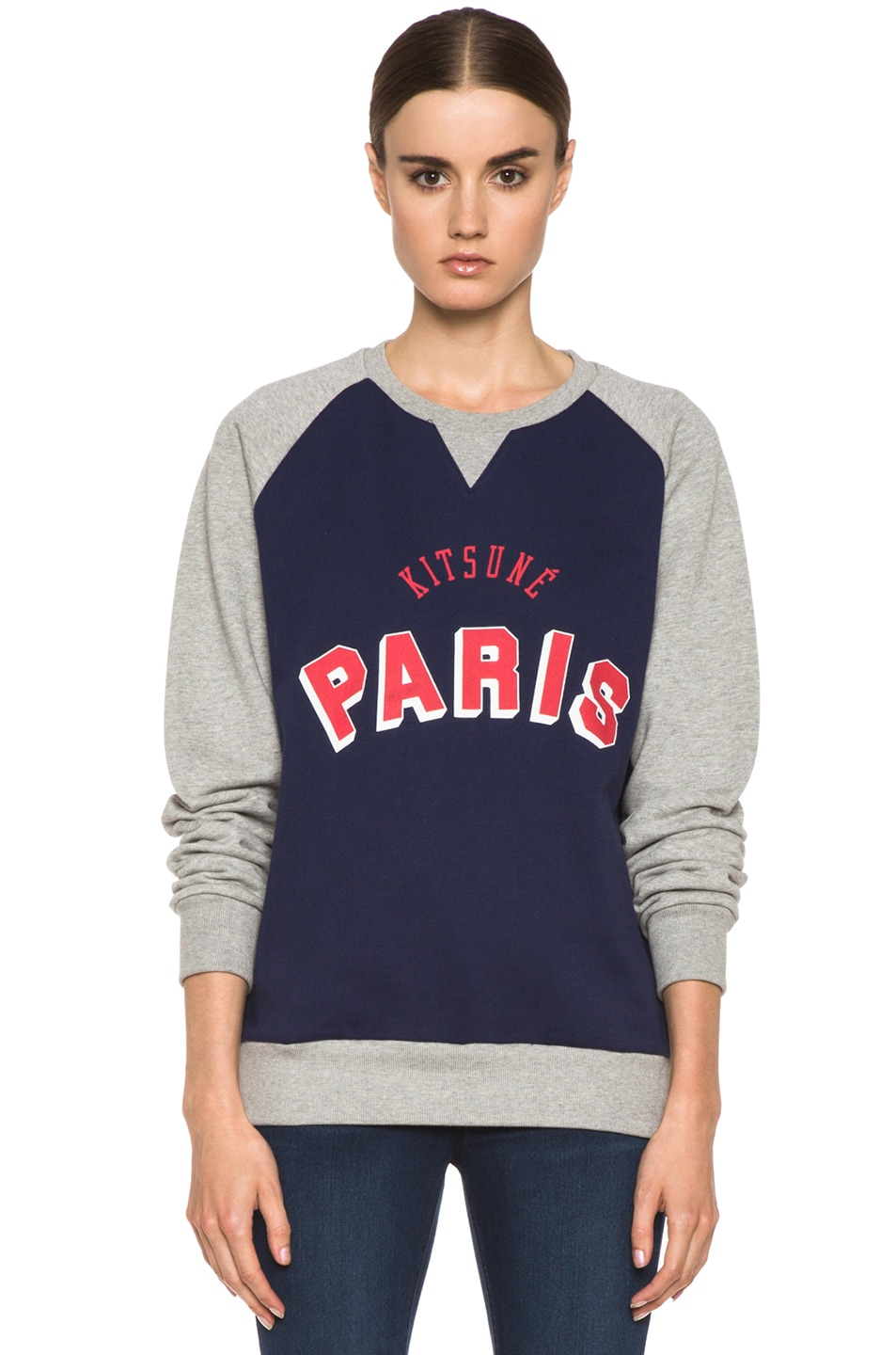 Image 1 of Kitsune Tee Kitsune Paris Cotton Sweater Melange in Navy & Grey