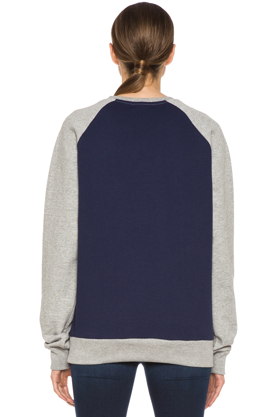 Image 4 of Kitsune Tee Kitsune Paris Cotton Sweater Melange in Navy & Grey