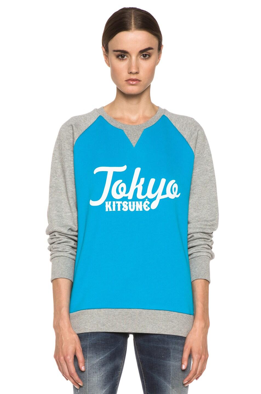 Image 1 of Kitsune Tee Tokyo Kitsune Cotton Sweater Melange in Turquoise & Grey
