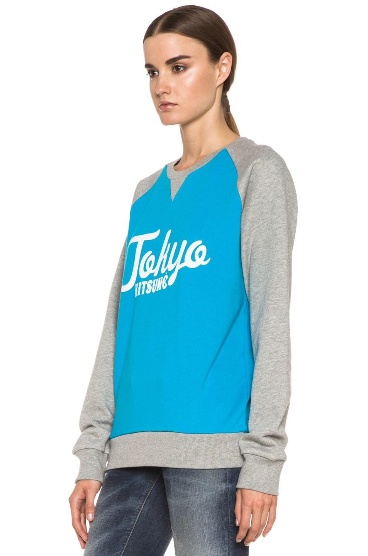 Image 2 of Kitsune Tee Tokyo Kitsune Cotton Sweater Melange in Turquoise & Grey