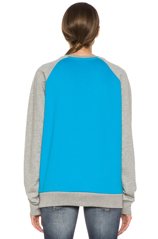 Image 4 of Kitsune Tee Tokyo Kitsune Cotton Sweater Melange in Turquoise & Grey