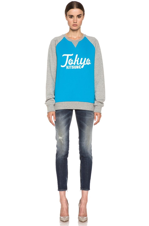 Image 5 of Kitsune Tee Tokyo Kitsune Cotton Sweater Melange in Turquoise & Grey
