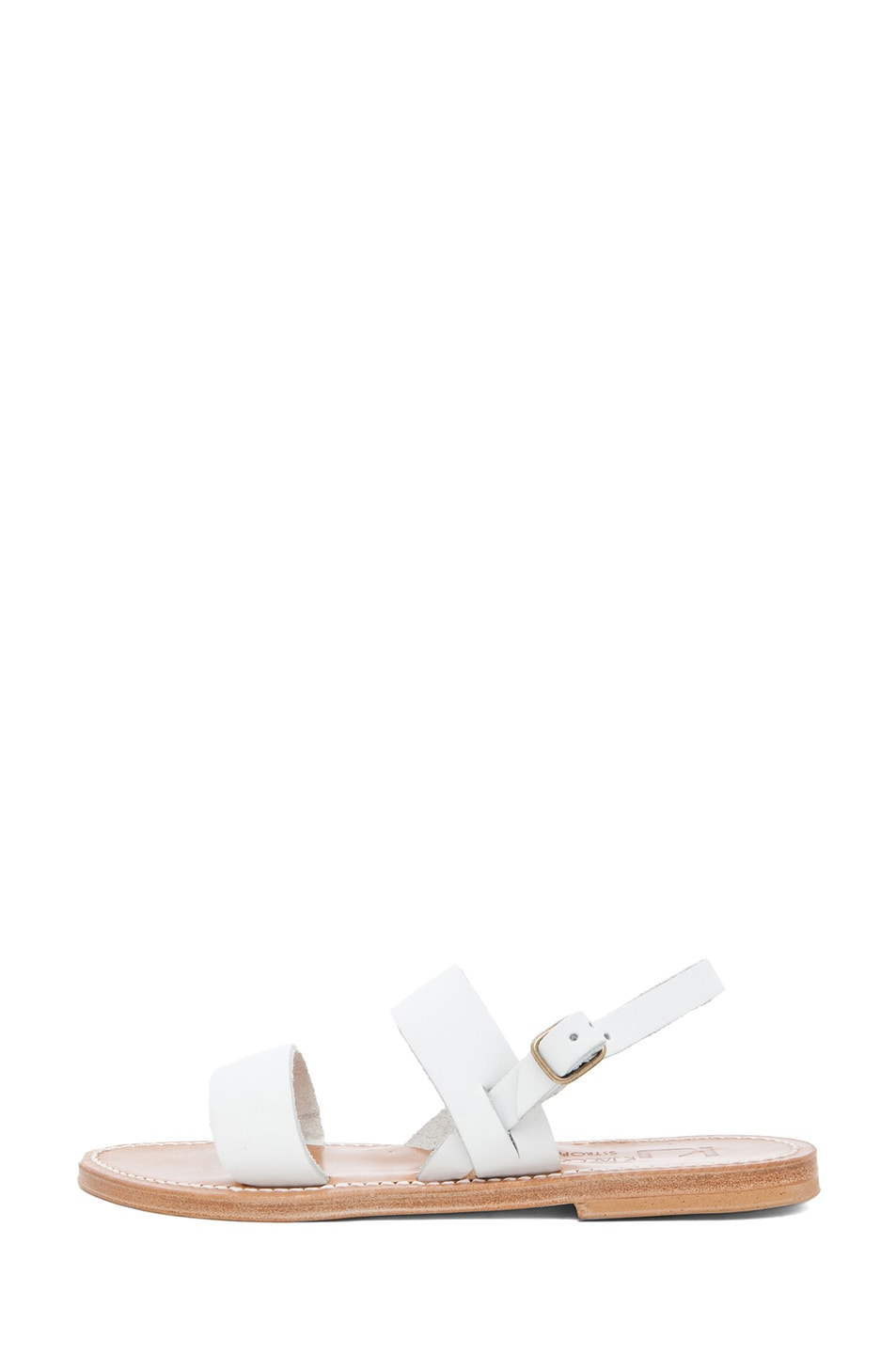 Image 1 of K Jacques Barigoule Calfskin Leather Thick Strap Sandals in White