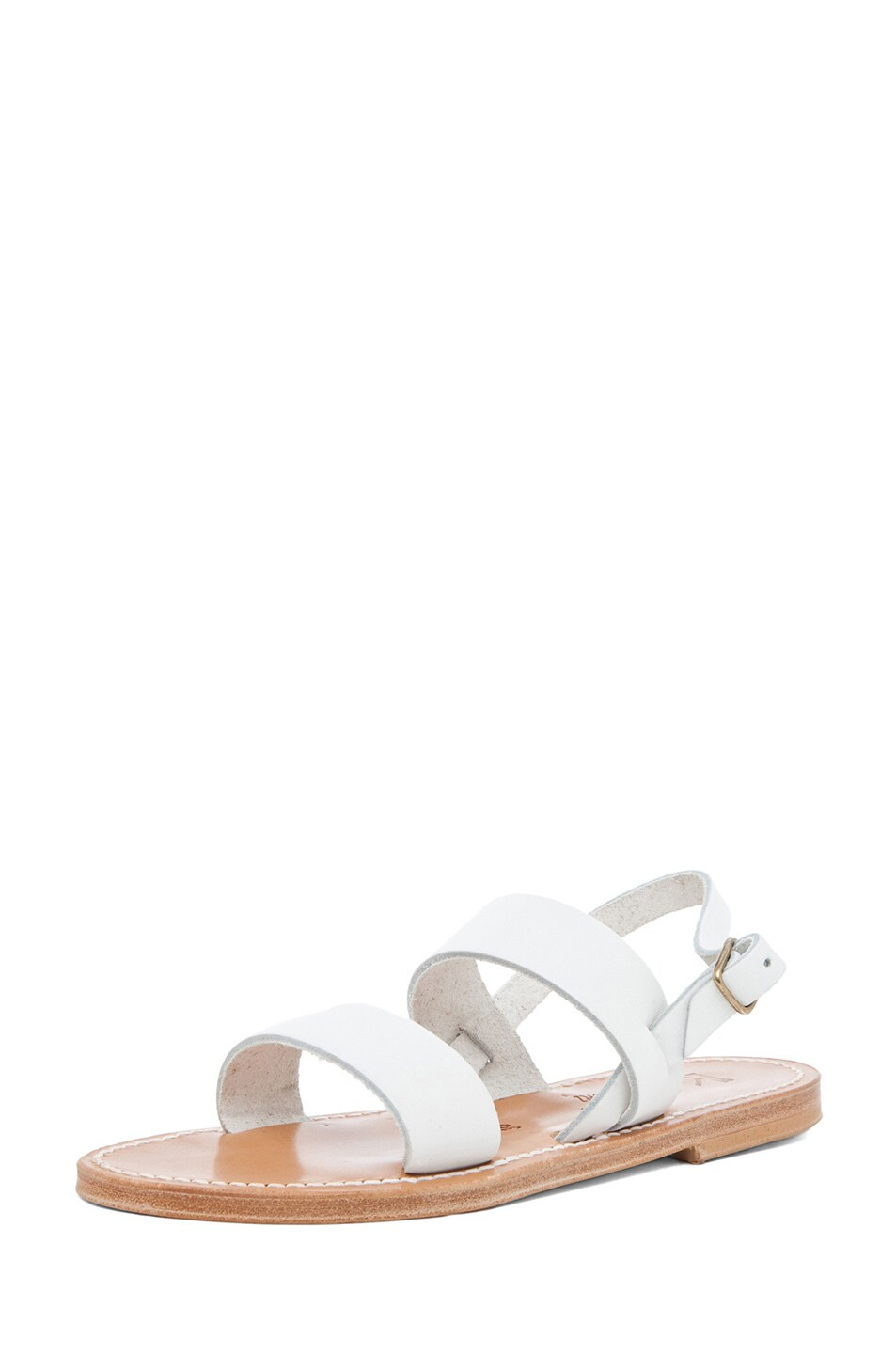 Image 2 of K Jacques Barigoule Calfskin Leather Thick Strap Sandals in White