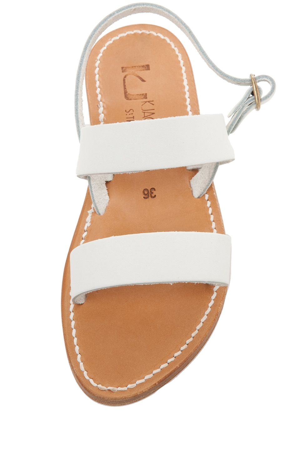 Image 4 of K Jacques Barigoule Calfskin Leather Thick Strap Sandals in White