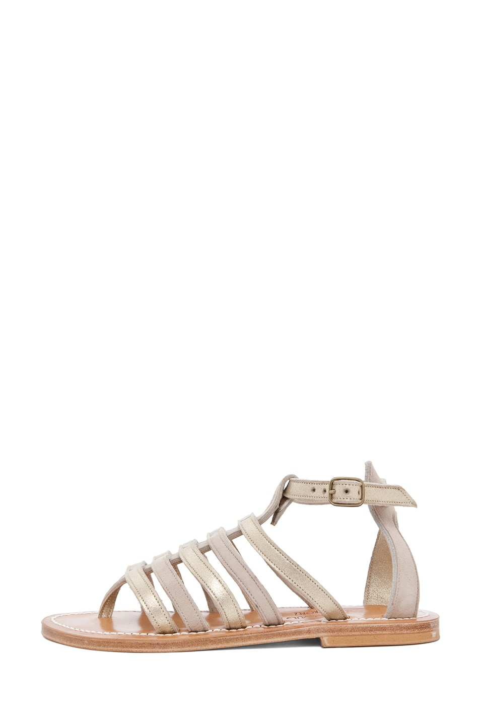 Image 1 of K Jacques Agopos Suede Interbi Gladiator Sandals in Nude & Gold