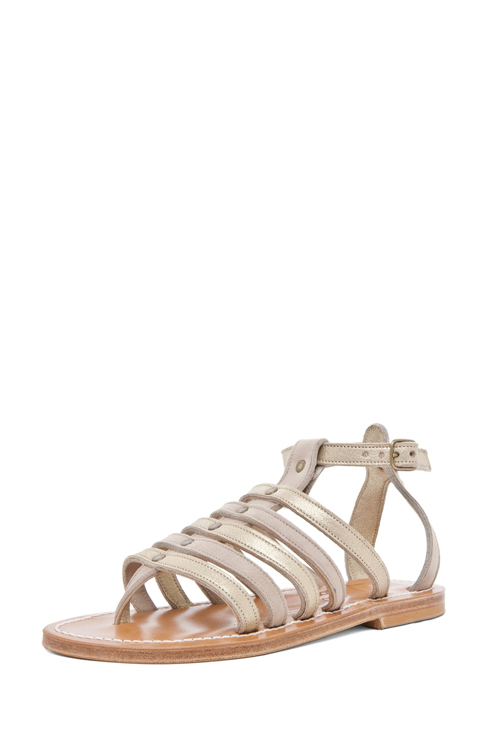 Image 2 of K Jacques Agopos Suede Interbi Gladiator Sandals in Nude & Gold