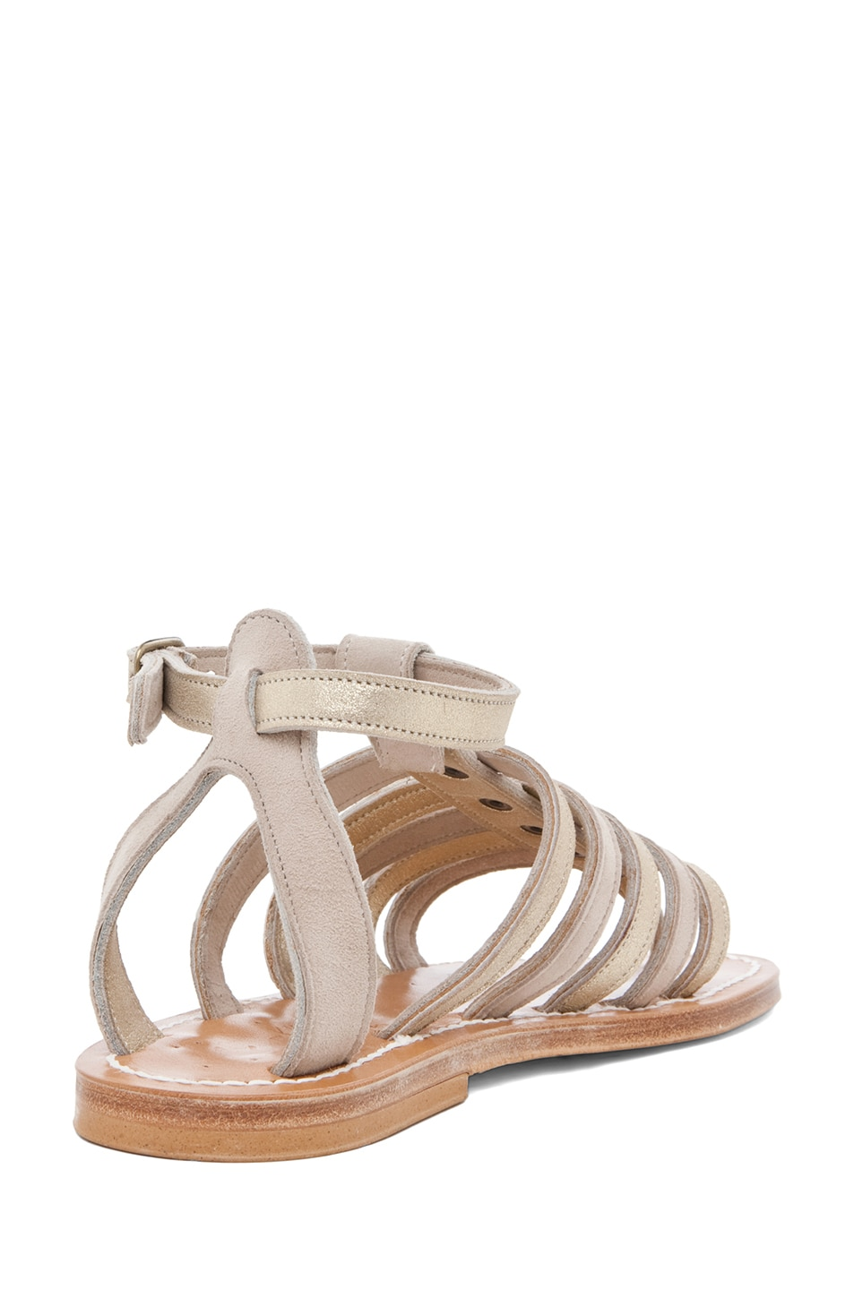 Image 3 of K Jacques Agopos Suede Interbi Gladiator Sandals in Nude & Gold