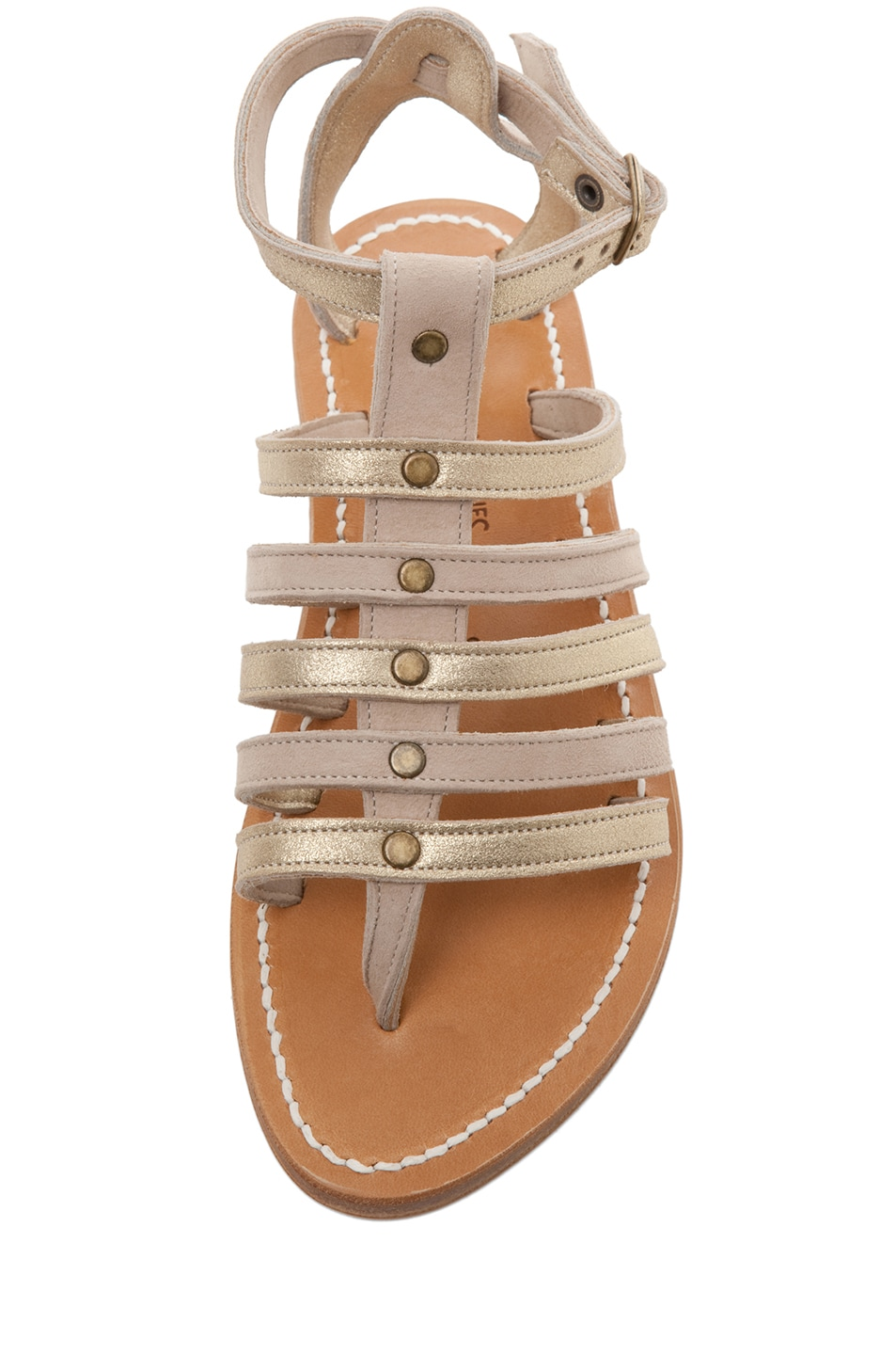 Image 4 of K Jacques Agopos Suede Interbi Gladiator Sandals in Nude & Gold