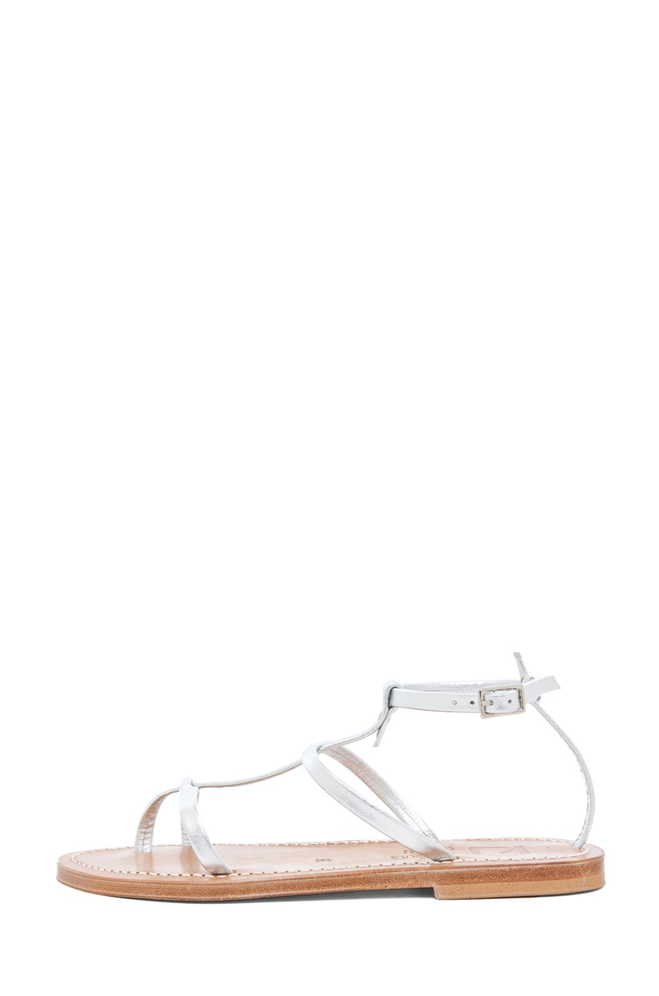 Image 1 of K Jacques Gina Calfskin Gladiator Sandal in Silver